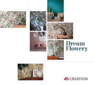 Обои «Dream Flowery» марки «A.S. Création»: обоев 65; интерьеров 18