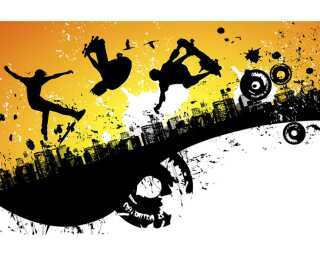 Livingwalls Fototapete «Acrobatic Skaters» 036961