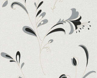 A.S. Création Wallpaper «Flowers, Black, Gold, Metallic, Silver» 106742