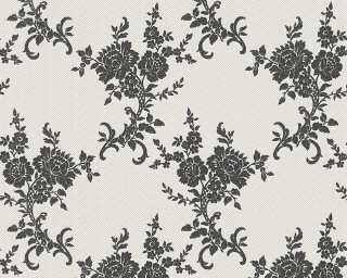 A.S. Création Wallpaper «Flowers, Black, Metallic, White» 110220