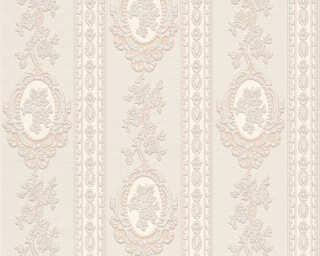 A.S. Création Wallpaper «Stripes, Flowers, Beige, Cream, Metallic, Silver» 186133