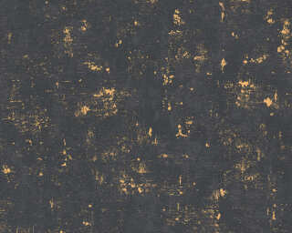 A.S. Création papier peint «Uni, métallique, noir, or» 230782