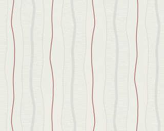 Livingwalls Tapete «Streifen, Creme, Rot» 249531