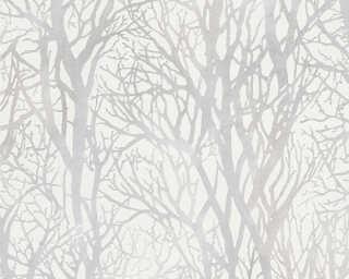 A.S. Création papier peint «Maison, Floral, blanc, métallique» 300941