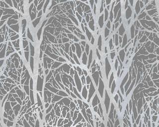 A.S. Création papier peint «Maison, Floral, gris, métallique» 300943