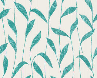 Esprit Home Wallpaper «Floral, Green, Turquoise, White» 302791