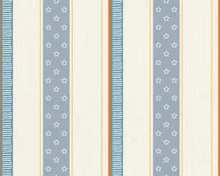Esprit Home Wallpaper «Stripes, Blue, Cream, Orange» 302942