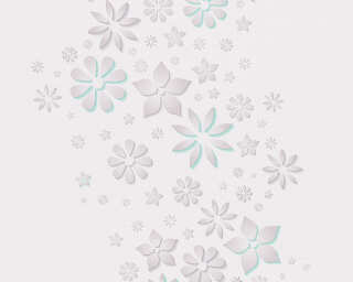 Esprit Home Wallpaper «Floral, Blue, Grey, Turquoise, White» 303072