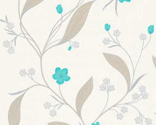 A.S. Création papier peint «Floral, argent, beige, métallique, turquoise» 303933