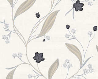 A.S. Création Wallpaper «Flowers, Beige, Black, Metallic, Silver» 303935