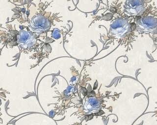A.S. Création papier peint «Fleurs, bleu, crème, métallique» 304201