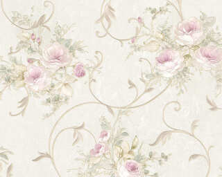 A.S. Création Wallpaper «Flowers, Cream, Green, Pink» 304202