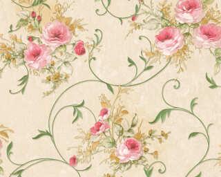 A.S. Création papier peint «Fleurs, crème, rose, vert» 304203