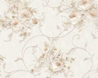 A.S. Création papier peint «Fleurs, beige, crème, métallique» 304204