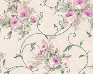 A.S. Création papier peint «Fleurs, crème, métallique, vert» 304205