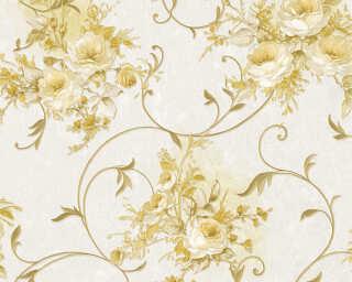 A.S. Création papier peint «Fleurs, crème, métallique, or» 304206