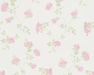 A.S. Création Wallpaper «Cottage, Flowers, Green, Pink, White» 305221