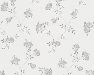 A.S. Création Wallpaper «Cottage, Floral, Grey, Metallic, Silver, White» 305224
