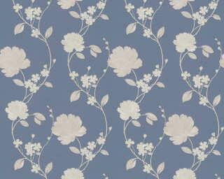 ORIGINALS papier peint «Floral, beige, bleu, métallique» 305384