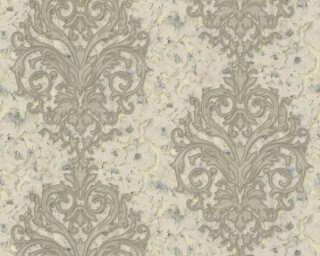 A.S. Création papier peint «Floral, bleu, bronze, crème, métallique» 305944