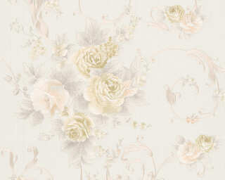 A.S. Création Wallpaper «Flowers, Cream, Grey, Pink» 306471