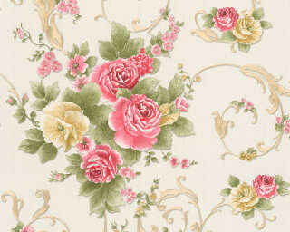 A.S. Création Wallpaper «Flowers, Gold, Green, Metallic, Red» 306473