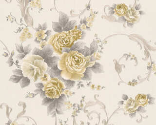 A.S. Création Wallpaper «Flowers, Gold, Grey, Metallic, Silver» 306474