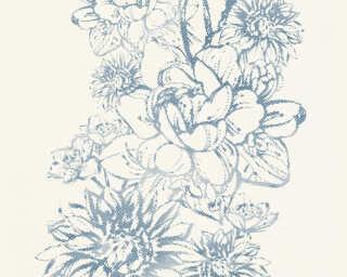 Lutèce Wallpaper «Flowers, Blue, Metallic, White» 307062