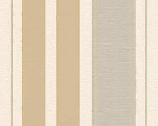 A.S. Création Wallpaper «Stripes, Cream, Gold, Green, Metallic» 307553