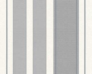 A.S. Création papier peint «Rayures, argent, blanc, gris, métallique» 307554
