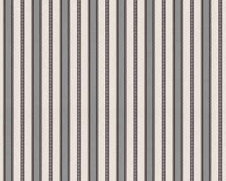 A.S. Création papier peint «Rayures, argent, blanc, métallique, noir» 310415
