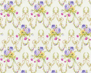 ORIGINALS Wallpaper «Flowers, Cream, Purple, Yellow» 312822