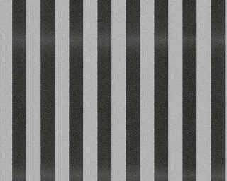 A.S. Création papier peint «Rayures, gris, noir» 315144