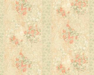ORIGINALS Обои «Полосы, Цветы, Бежевые, Зеленые, Оранжевые» 318711