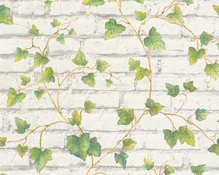 A.S. Création papier peint «Pierre, blanc, marron, vert» 319421