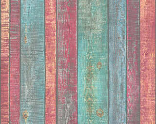 A.S. Création Wallpaper «Wood, Cottage, Blue, Coloured, Red, Turquoise» 319931