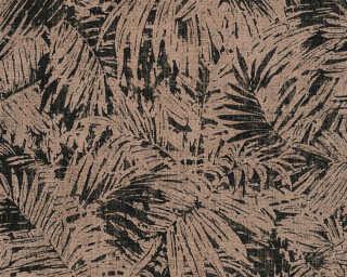 A.S. Création papier peint «Floral, bronze, métallique, noir» 322631