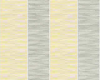 Schöner Wohnen Wallpaper «Stripes, Grey, White, Yellow» 324552
