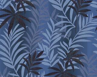 A.S. Création papier peint «Floral, argent, bleu, métallique, noir» 324724
