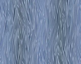 A.S. Création papier peint «Uni, argent, bleu, métallique» 324733