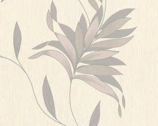 A.S. Création papier peint «Floral, argent, crème, gris, métallique» 325221