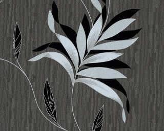 A.S. Création Wallpaper «Floral, Black, Grey, Metallic, Silver» 325223