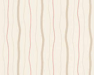 A.S. Création papier peint «Rayures, beige, métallique, rouge» 325851