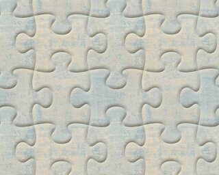 A.S. Création papier peint «Graphique, 3D, bleu, gris, métallique» 327032
