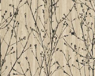 A.S. Création papier peint «Floral, beige, noir» 327133
