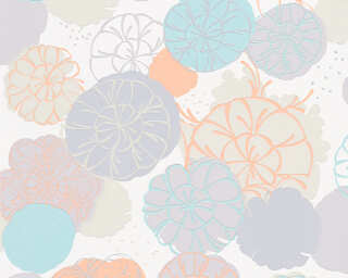Esprit Home Wallpaper «Flowers, Green, Grey, Orange, Turquoise» 327632