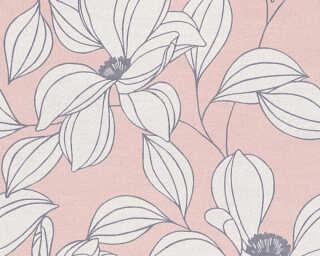A.S. Création papier peint «Fleurs, gris, noir, rouge» 327952