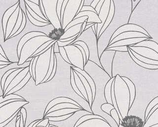 A.S. Création papier peint «Fleurs, blanc, gris, noir» 327953