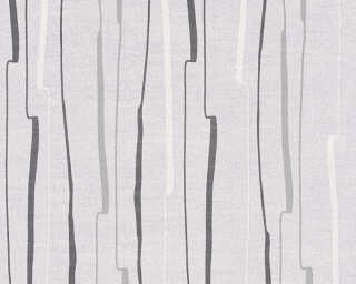 A.S. Création papier peint «Rayures, blanc, gris, noir» 327961