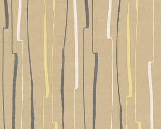 A.S. Création papier peint «Rayures, beige, jaune, noir» 327962